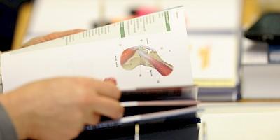 Therapeutin lies in einem Fachbuch im Rahmen ihrer Fortbildung