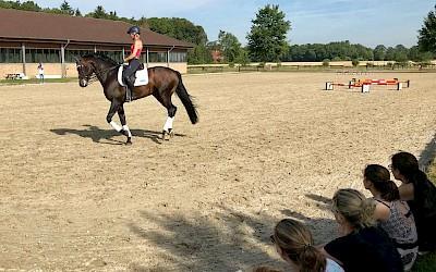 Teilnehmer schauen Ingrid Klimke beim Training zu